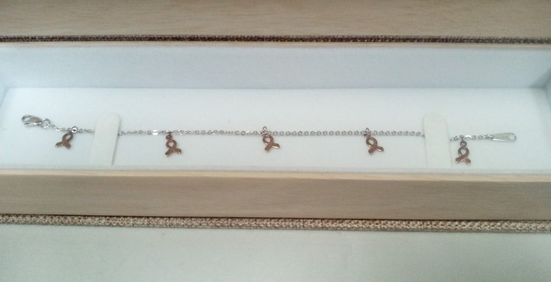 WHITE GOLD BRACELET 14KT 2.84 GRAMS, 5 CANCER AWARENESS RIBBONS