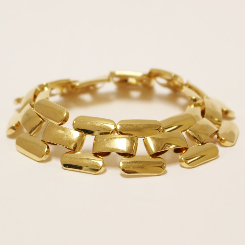 "6"" Gold-Tone Stainless Steel Link Style Band Bracelet"