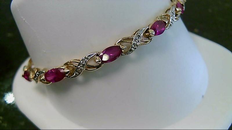 Synthetic Ruby Gold-Diamond & Stone Bracelet 20 Diamonds .20 Carat T.W.