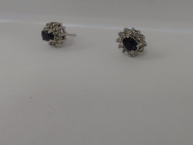 Blue Stone Gold-Diamond & Stone Earrings 24 Diamonds .48 Carat T.W.