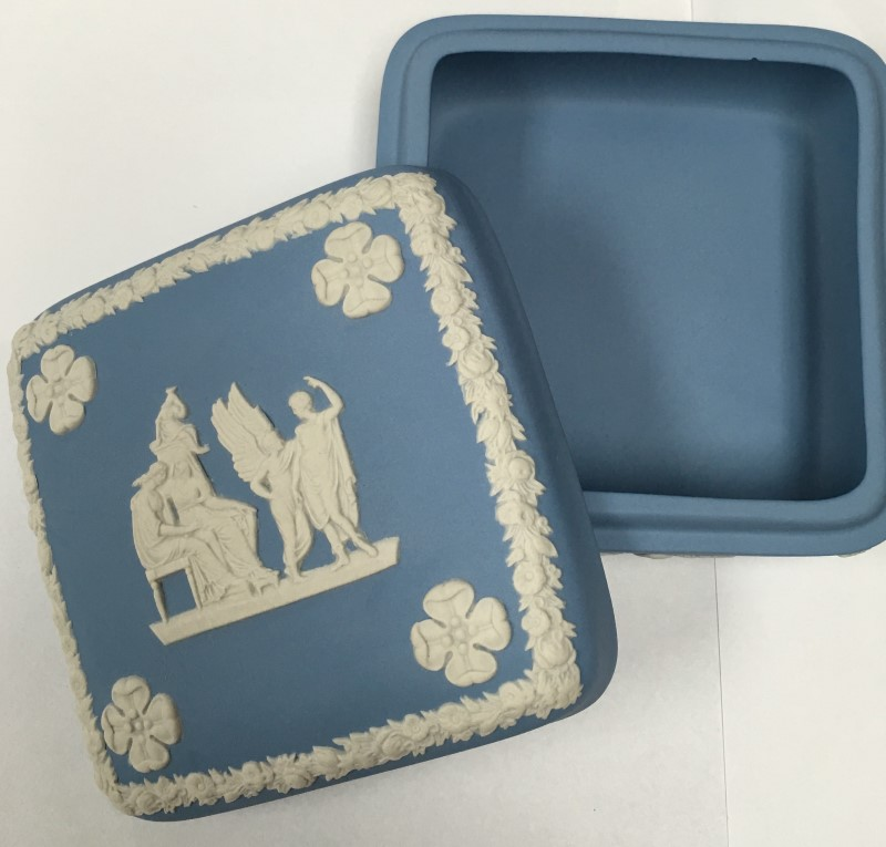 "WEDGEWOOD BLUE SQUARE JASPERWARE TRINKET BOX, 4 X 4"""