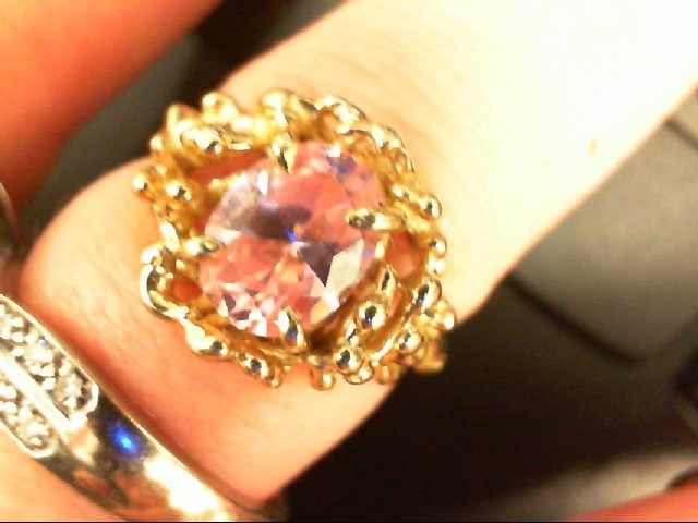 Pink Stone Lady's Stone Ring 10K Yellow Gold 2.8g