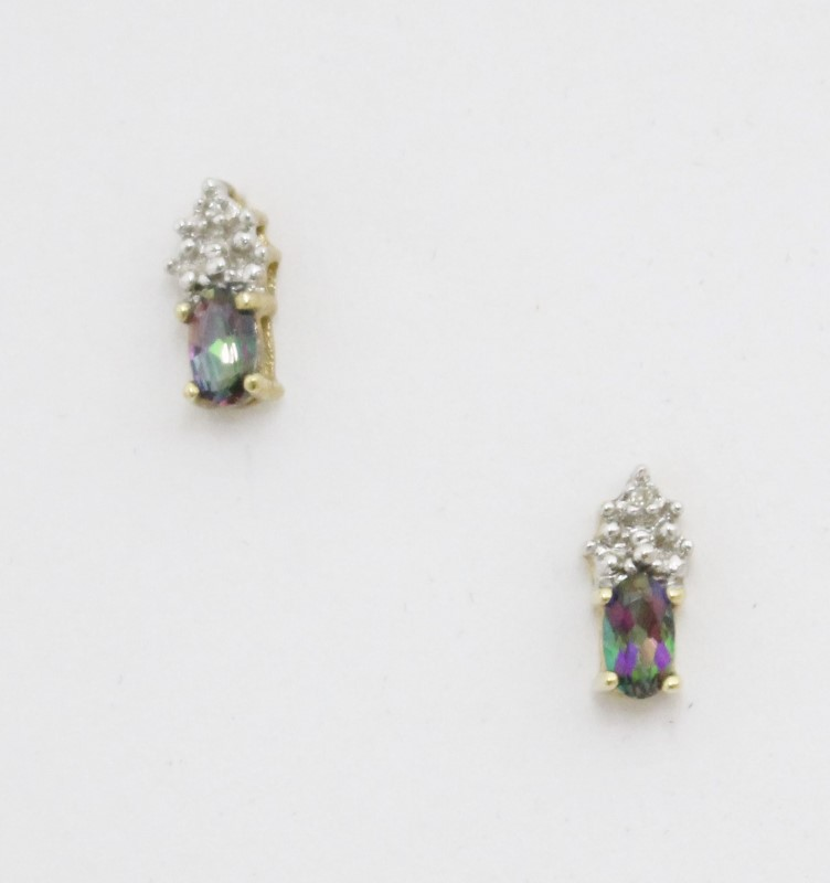 14k Yellow Gold Oval Mystic Topaz Diamond Cluster Stud Earrings