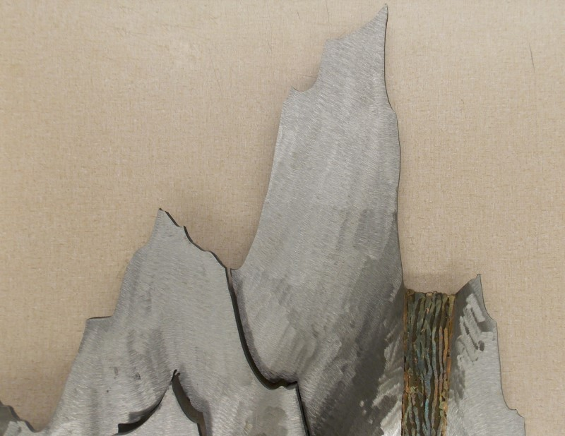 X-LARGE ROSS BENDIXEN 2 PIECE METAL SCULPTURE OF MOUNTAINS, TREES, & WATERFALL