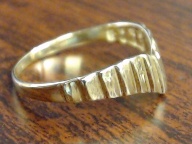 VINTAGE CHEVRON V RIBBED RING BAND SOLID 18K YELLOW GOLD SZ 6.25