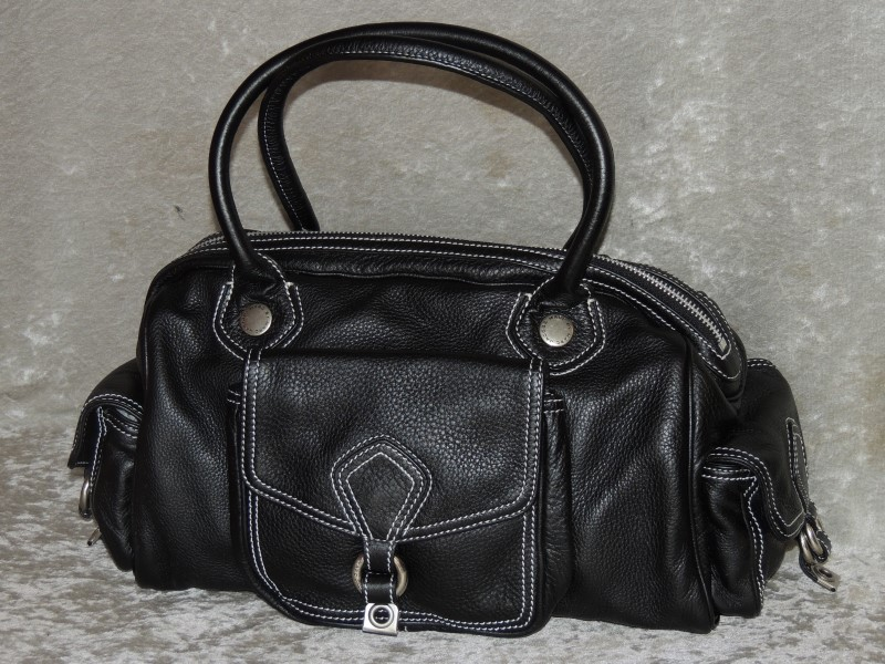 MARC BY MARC JABOBS LARGE BLACK LEATHER MULTI POCKET HANDBAG