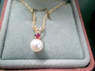 Synthetic Pearl Stone Necklace 14K Yellow Gold 1.6g