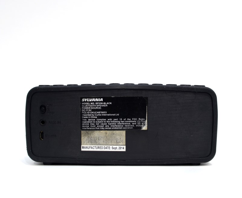 SYLVANIA SP258-BLACK WIRELESS BLUETOOTH SPEAKER NO CHARGER >