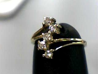 Lady's Diamond Fashion Ring 5 Diamonds .10 Carat T.W. 14K Yellow Gold 0.6dwt