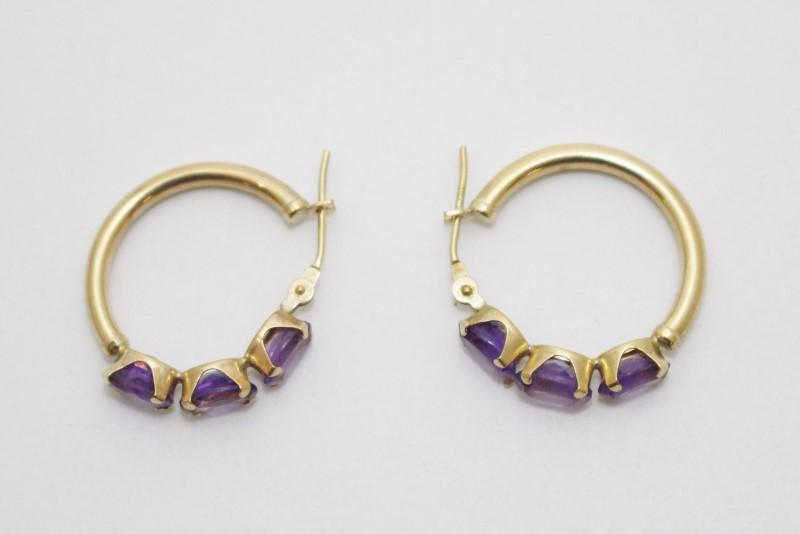 10K Yellow Gold Triple Oval Amethyst Hoop Earrings