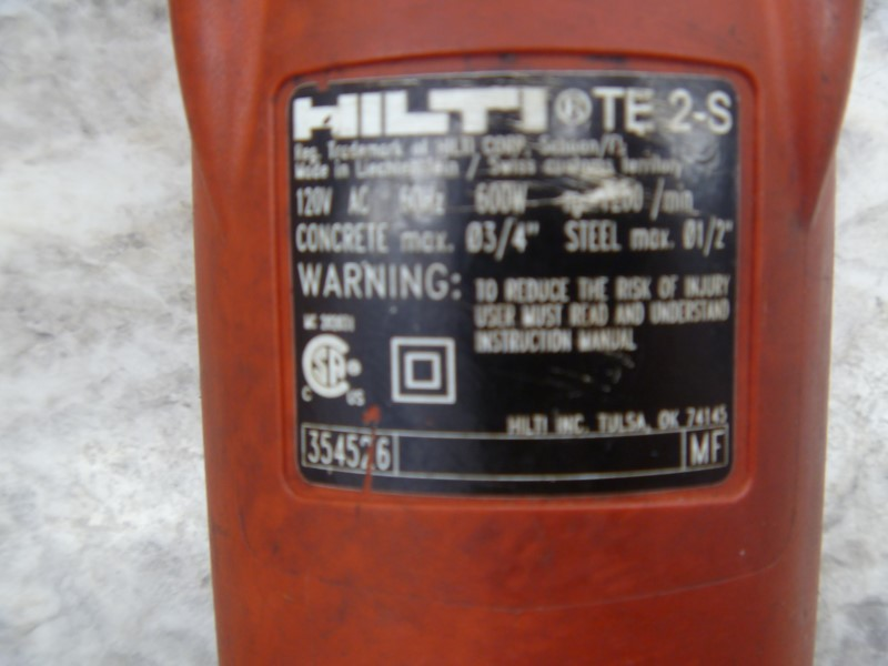 HILTI TE 2-S 120-VOLT SDS-PLUS HAMMER DRILL **MISSING HANDLE**