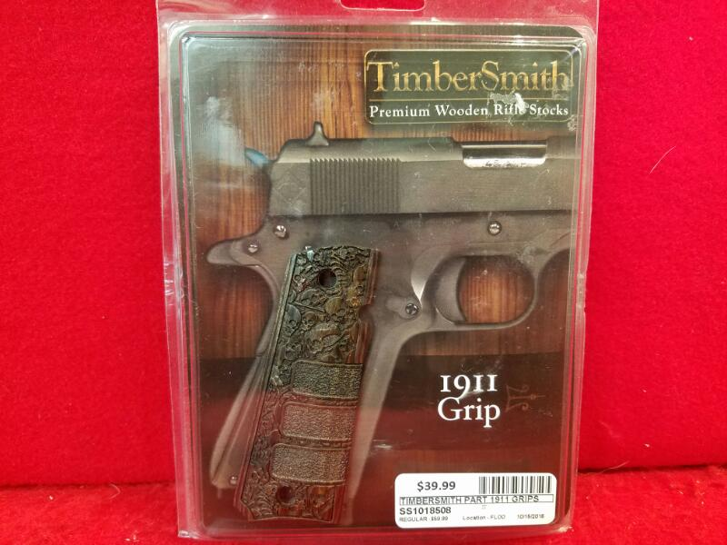 Timbersmith 1911 Custom Grips - Wood Skull Design