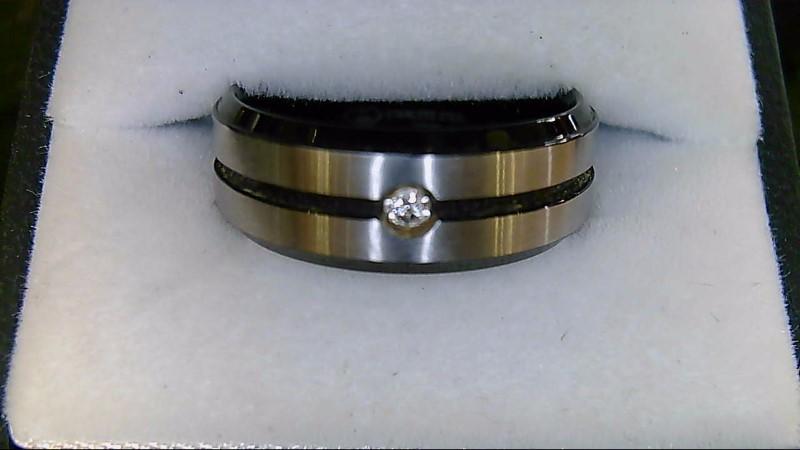 Black Stainless Steel Diamond Wedding Band Sz 9
