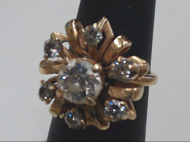 Lady's Diamond Engagement Ring 7 Diamonds 1.17 Carat T.W. 14K Yellow Gold 5.6g