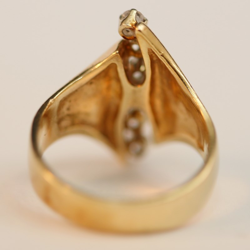 14K Yellow Gold Round Brilliant Diamond Fashion Ring Size 7