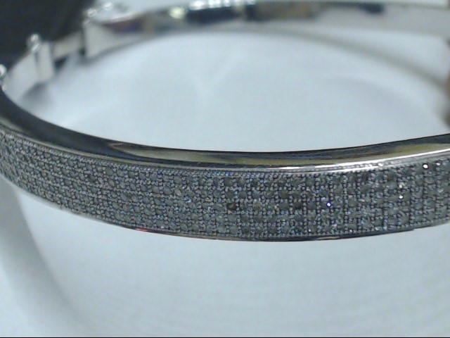 VINTAGE DIAMOND BANGLE BRACELET SOLID REAL 10K WHITE GOLD PAVE OPENS