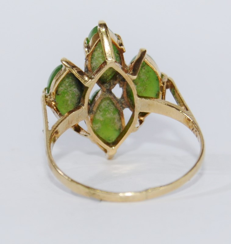 14k Yellow Gold Split Shank Dark Green Jade Cluster Ring Size 6.5