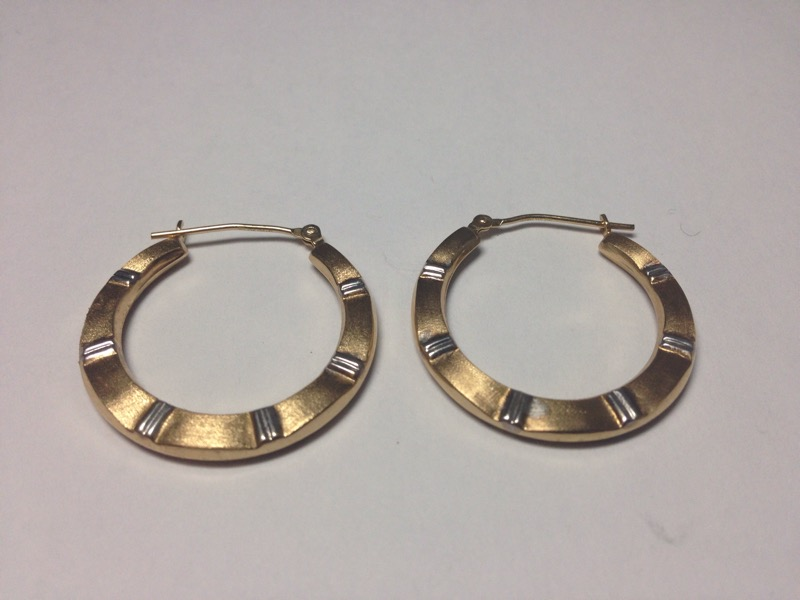Gold Earrings 10K 2 Tone Gold Hoop Earrings