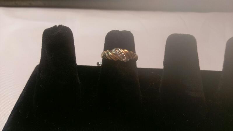 Lady's Diamond Cluster Ring 2 Diamonds .02 Carat T.W. 10K Yellow Gold 1.4g Sz 5