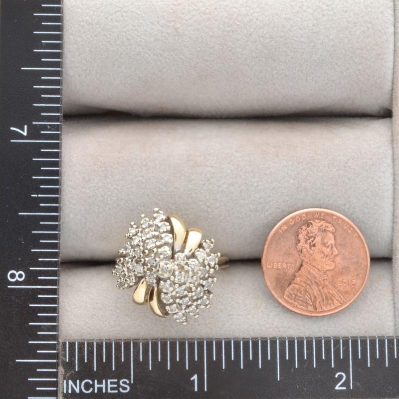 ESTATE DIAMOND CLUSTER RING SOLID 10K GOLD COCKTAIL DINNER SIZE 7.5