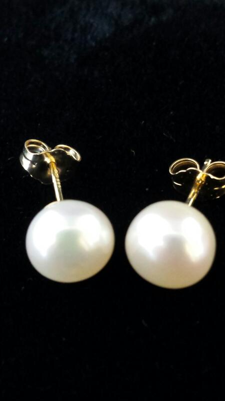 Pearl Gold-Stone Earrings 14K Yellow Gold 1.14dwt