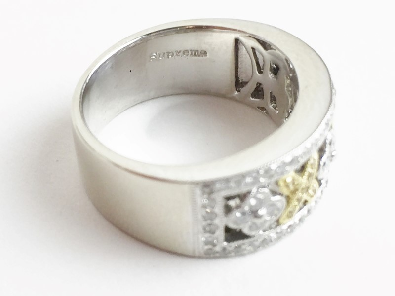 LADIES 18KT WG WHITE & YELLOW DIAMOND RING APX .82CTW