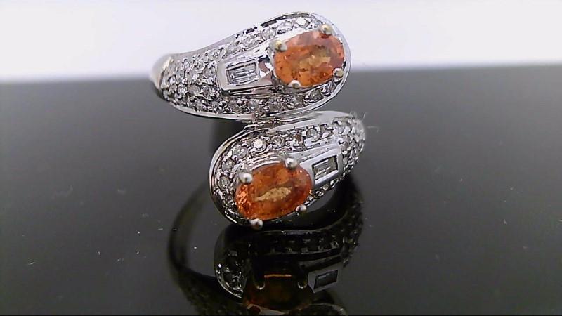 Citrine Lady's Stone & Diamond Ring 66 Diamonds .74 Carat T.W. 14K White Gold