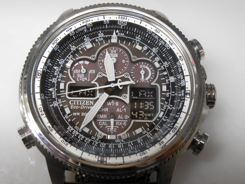 CITIZEN ECO-DRIVE WORLD TIME NAVIHAWK A-T ALARM CHRONOGRAPH WATCH JY8030-83E