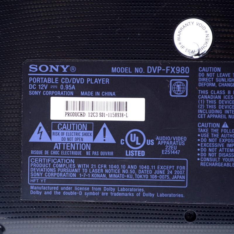 "Sony DVP-FX980 9"" Portable CD/DVD Player - Black *Free Shipping*"