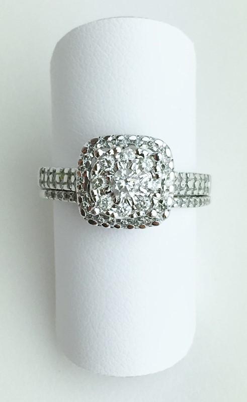 Lady's Diamond Wedding Set .87 Carat T.W. 14K White Gold 4.83g Size 7
