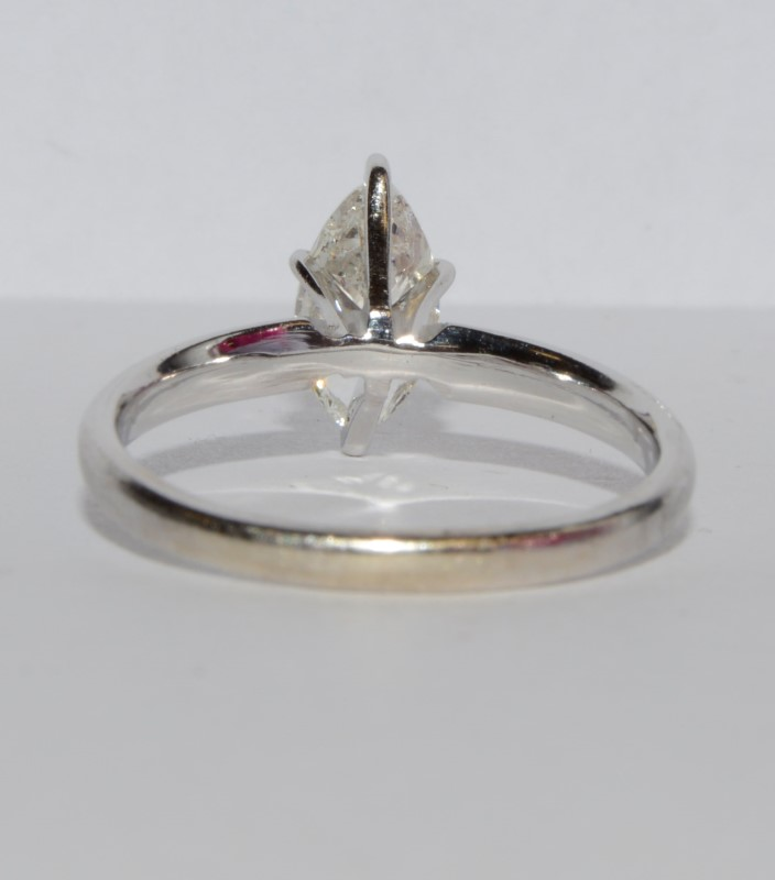 14K White Gold Certifed Marquise Diamond Solitaire Engagement Ring Size: 8