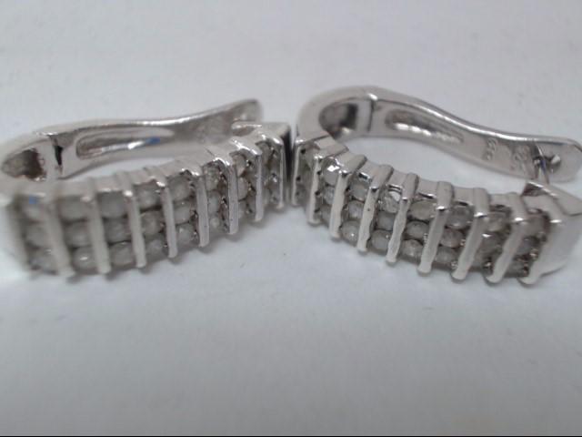 Silver-Diamond Earrings 24 Diamonds .24 Carat T.W. 925 Silver 5.6g