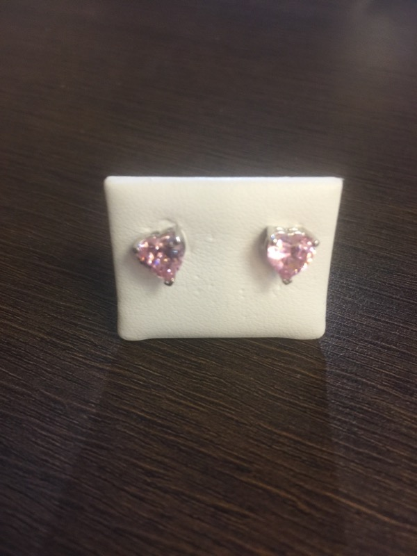 Pink Heart Stud Earrings 14K White Gold