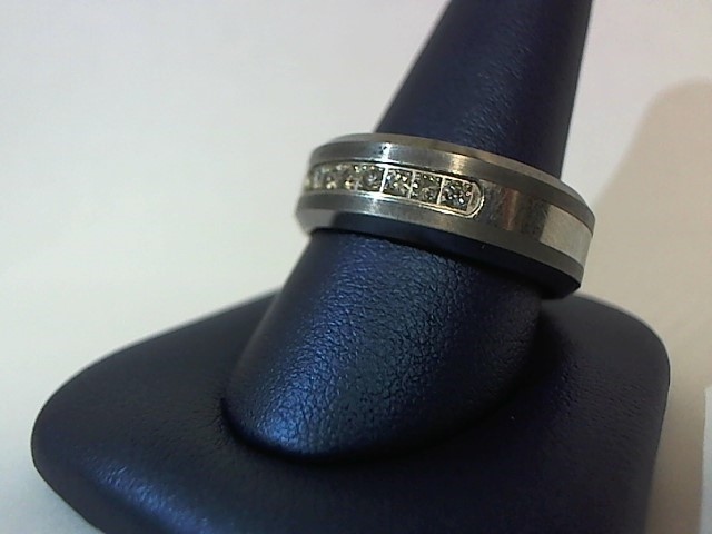 Gent's Diamond Wedding Band 7 Diamonds .21 Carat T.W. Silver Tungsten 16g