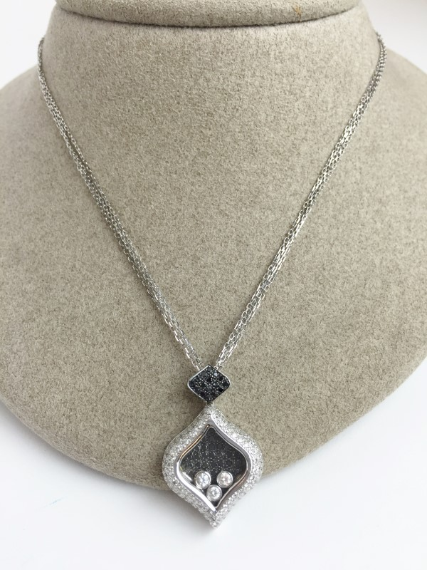 18K WG FLOATING DIAMOND PENDANT APX 2.12CTW BLACK & WHITE