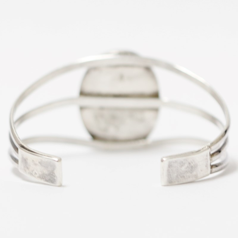 Oval Cut Turquoise Stone Sterling Silver Open Cuff Bracelet