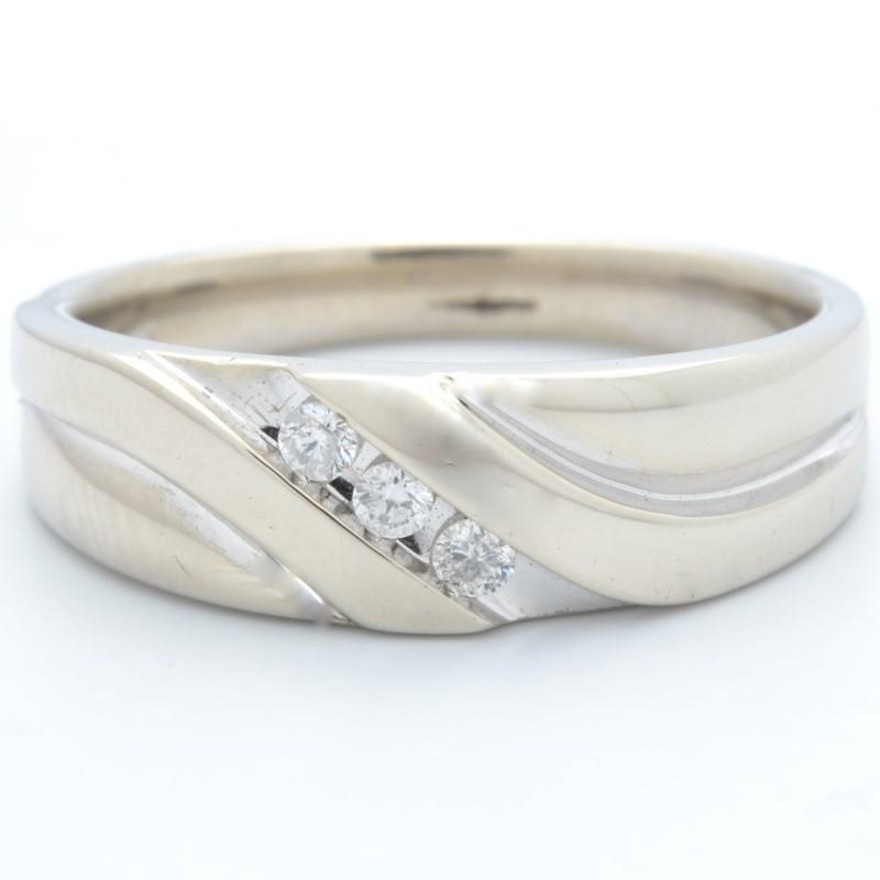 ESTATE 3 DIAMOND WEDDING RING BAND SOLID 10K WHITE GOLD MEN SIZE 10