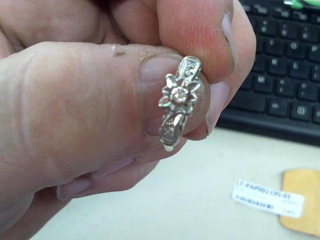 Lady's Diamond Engagement Ring 3 Diamonds .10 Carat T.W. 14K White Gold 1.9g