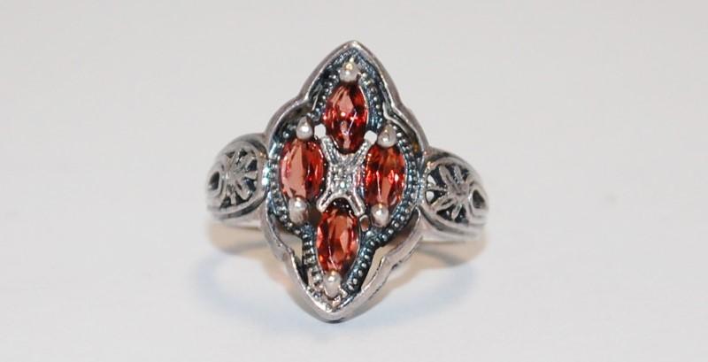 Women's Vintage Inspired Sterling Silver & Morganite Cluster Ring Size 7