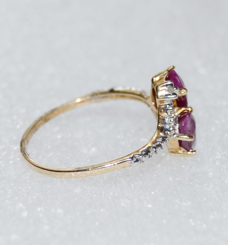 14K Two Tone Yellow & White Gold Bypass Double Oval Ruby & Diamond Cocktail Ring
