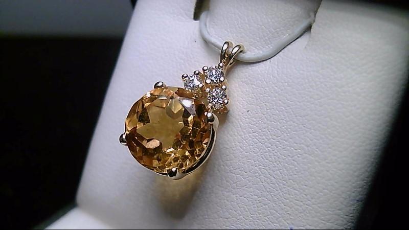 Citrine Gold-Diamond & Stone Pendant 3 Diamonds .27 Carat T.W.