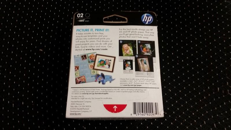 *NEW* Genuine OEM HP Photosmart 02 Black Ink Cartridge
