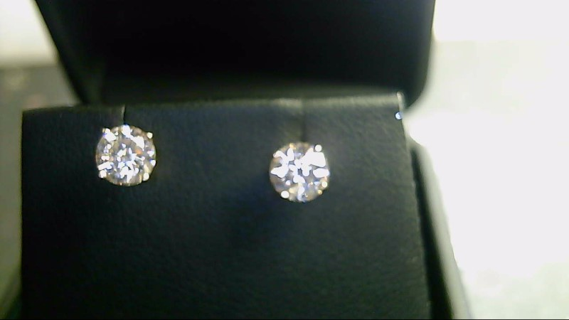 Gold-Diamond Earrings 2 Diamonds 1.20 Carat T.W. 14K Yellow Gold 1g