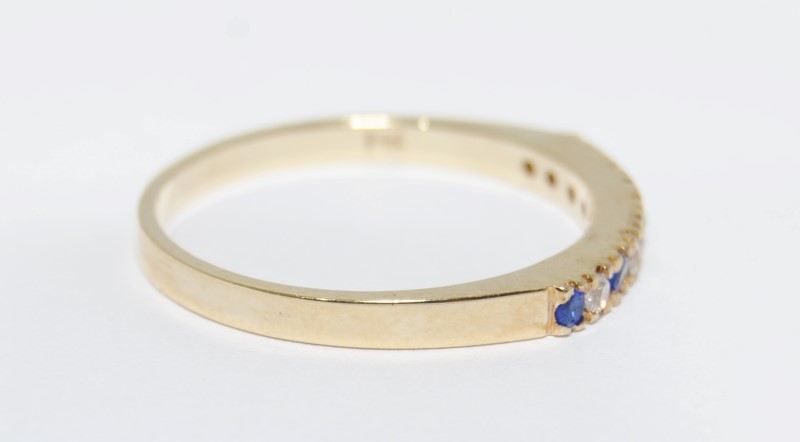 14K Yellow Gold Round CZ & Sapphire Stacker Wedding Ring Band sz 9.75