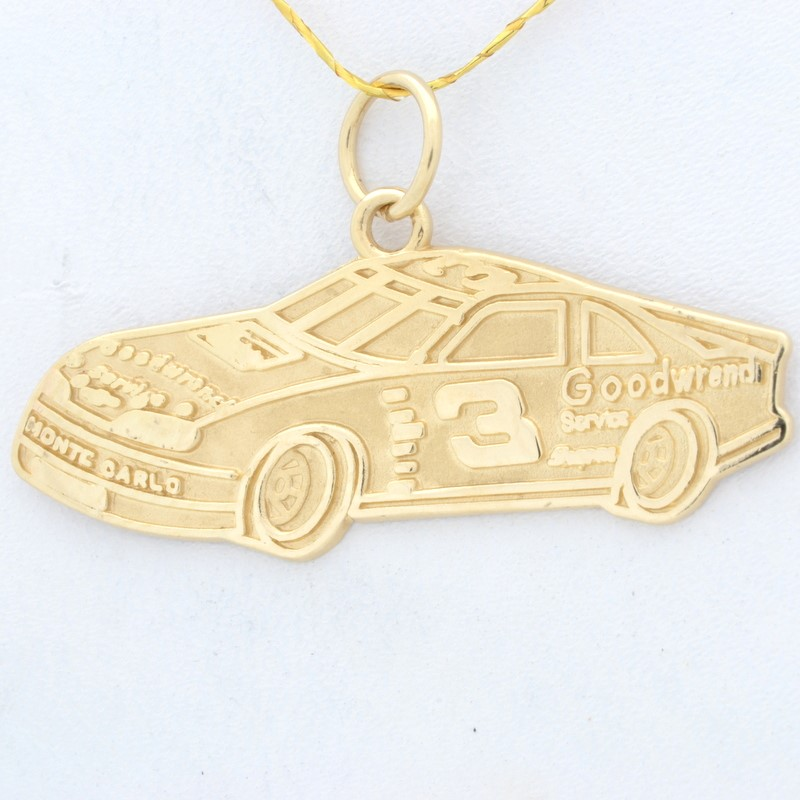 SOLID REAL 14K GOLD RACE CAR PENDANT CHARM NASCAR #3 DALE EARNHARDT
