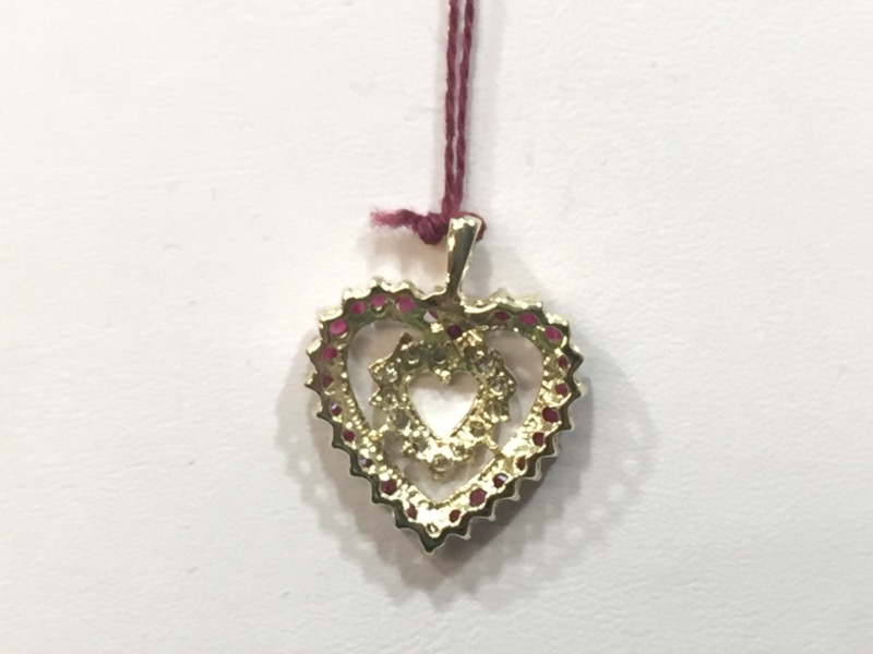 Synthetic Ruby Gold-Diamond & Stone Pendant 12 Diamonds .12 Carat T.W.