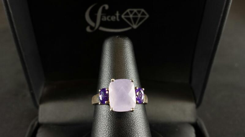 Cushion Purple Quartz Lady's Silver & Stone Ring 925