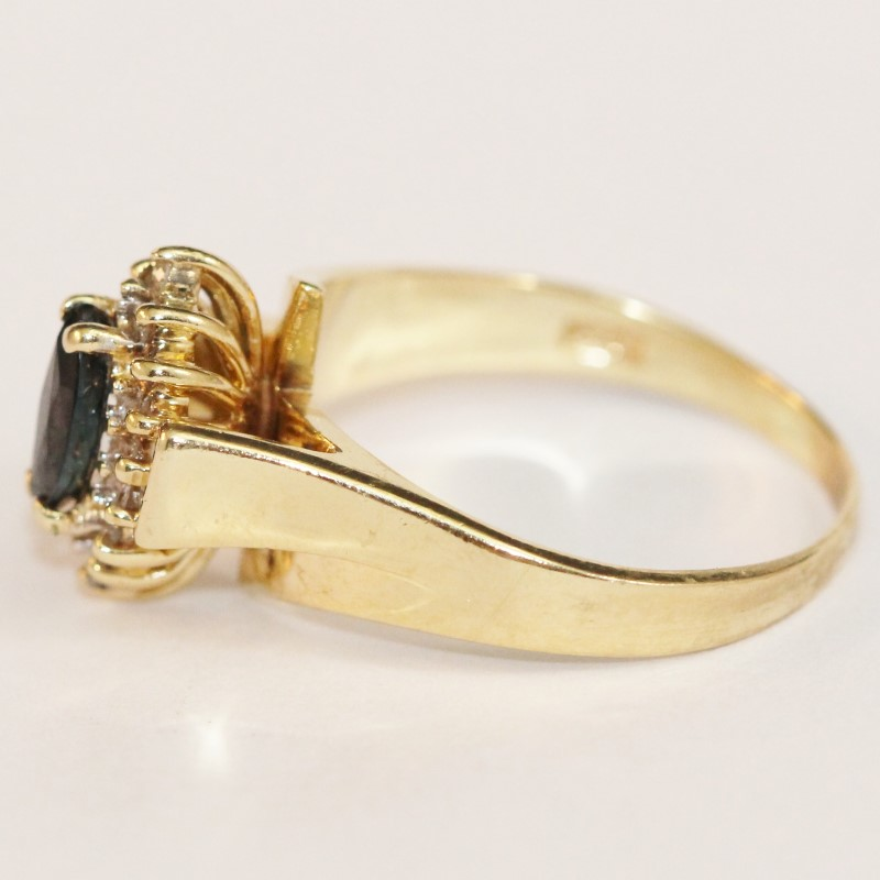 14K Yellow Gold Marquise Cut Sapphire and Diamond Ring Size 8.25