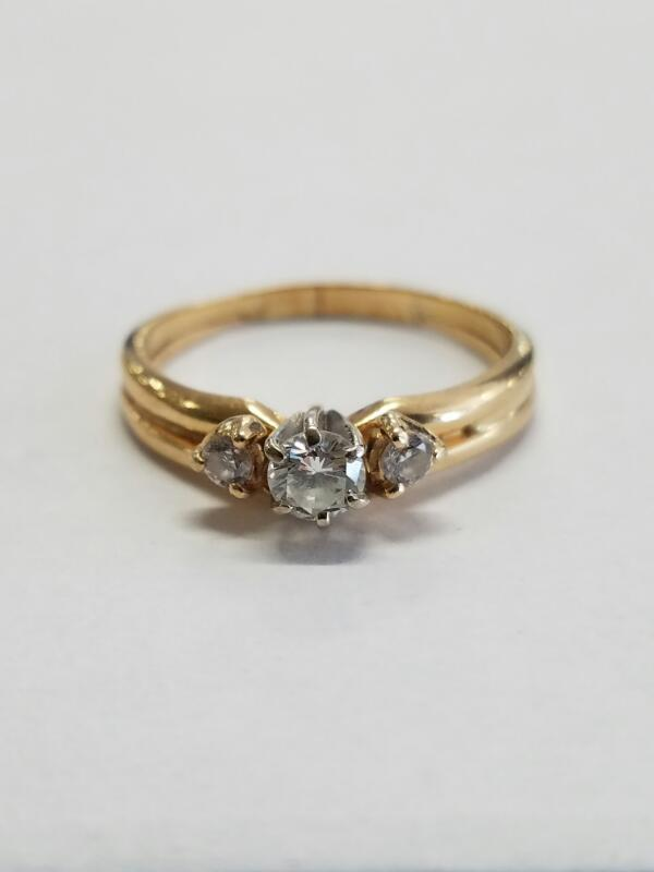 LDS 14KT Lady's Diamond Fashion Ring DIAMOND 3 Diamonds .31 Carat T.W.
