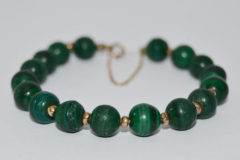 14K Yellow Gold Malachite Beaded Bracelet with Safety Chain